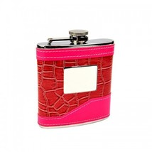 2-Tone Pink Hip Flask with Personalization - $12.85