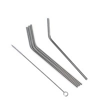 """CATTOSSO Stainless Steel Straws, Set of 4,8.5"""" Metal Straw Bent Straws in - $7.63"""