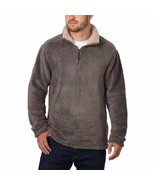 Trinity Mens Sweater Charcoal Gray Khaki Pullover Plush 1/4 Zip Soft Moc... - $34.99
