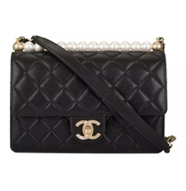 BNIB BRAND NEW AUTH CHANEL 19SS PEARL BLACK LAMBSKIN QUILTED FLAP BAG RECEIPT