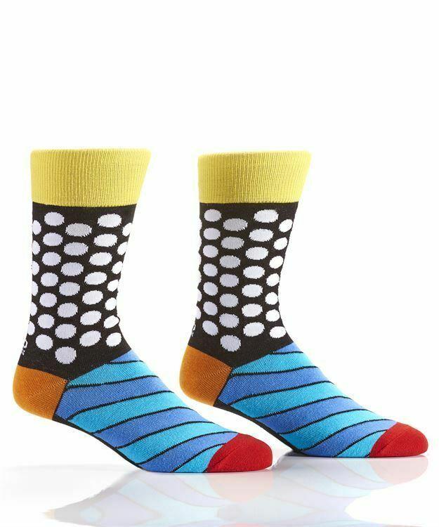 Romero Britto Woven Crew Socks Men's Fits Size 7-12 Dots & Stripes #334342