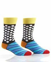 Romero Britto Woven Crew Socks Men's Fits Size 7-12 Dots & Stripes #334342 NEW