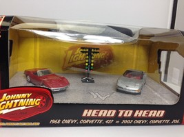 Johnny Lightning 1/64 Head to Head 2 car set 1968 Corvette 427 2002 Corv... - $14.95