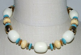VTG NOS MONET Gold Tone Cream Blue Bead Choker Necklace with Tags - $49.50