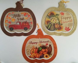 Autumn Harvest Thanksgiving Wall Décor Glitter Pumpkin Hanging Boards 11... - $2.99