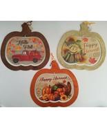 Autumn Harvest Thanksgiving Wall Décor Glitter Pumpkin Hanging Boards 11... - $2.99