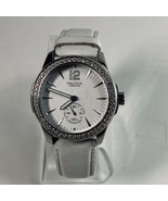 Nautica Big Face Women's 40mm Silver Watch White Leather N12500L Crystal... - $22.76