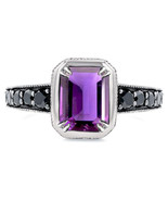 Emerald Cut Purple Amethyst Womens Clock Style Engagement Ring 925 Solid... - £56.38 GBP