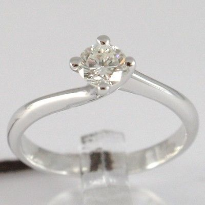 WHITE GOLD RING 750 18K, SOLITAIRE, STEM CRISS CROSSED, DIAMOND CARAT 0.43