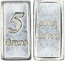 PURE SOLID .999 5GN SILVER BAR BULLION PRECIOUS METALS REAL SCRAP JEWELR... - $4.94