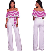 Stripes Ruffle Off Shoulder Jumpsuit with Belt - $36.95