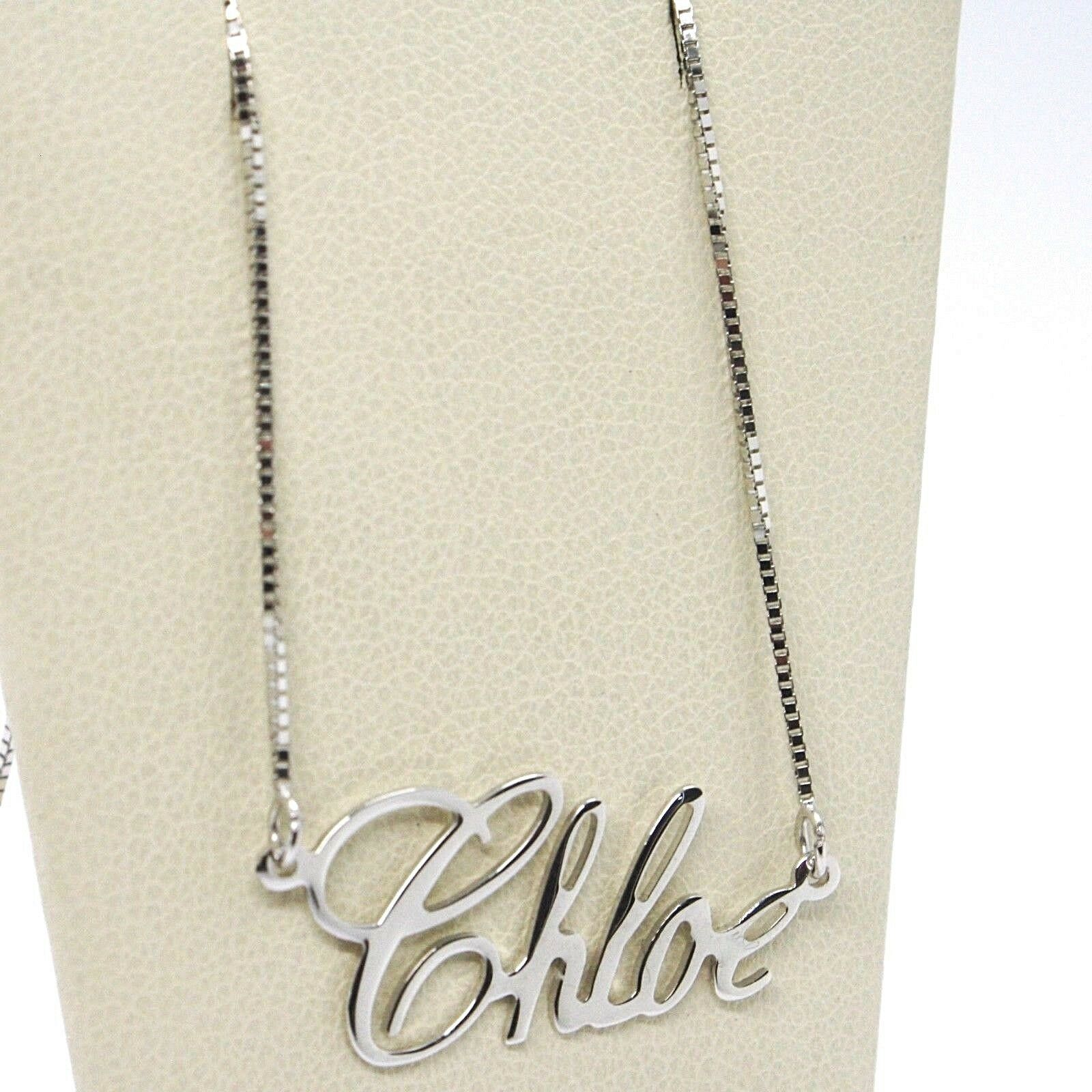 18K WHITE GOLD NAME NECKLACE, CHLOE, AVAILABLE ANY NAME, MADE IN ITALY
