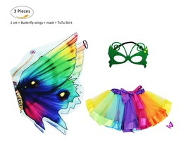 Kids Rainbow Fairy Butterfly Wings Costume with Mask Tutu Skirt Set for ... - £22.88 GBP