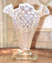 "Fenton? Clear White  MOONSTONE Glass Hob Nail Ruffled Top Vase 7.5""H image 6"