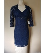 NWT  Adrianna Papell Deep Blue Beaded Mesh Lace & Jacket size 2 $244 - $60.38