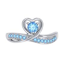 Round Cut Blue Topaz 14k White Gold Over 925 Silver Lovely Heart Promise Ring - $59.49