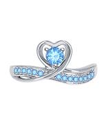 Round Cut Blue Topaz 14k White Gold Over 925 Silver Lovely Heart Promise... - $69.99