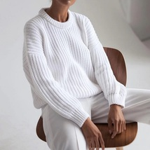 New white knitted long sleeves round neck thick women sweater knit pullover - $42.00