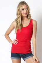 Red Scoop Neck Rayon Tank Top, Red Sleeveless Top, Ribbed Red Tank
