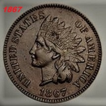 1867 Indian Head, Copper, One Cent, one day shipping Low price, Fast shi... - $2.88