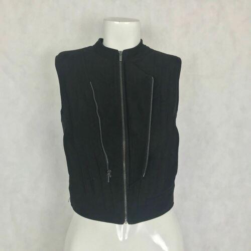 BCBG Maxazria Vest Damien Faux Suede zippers women size XXS image 3