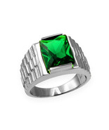 Sterling Silver Mens Square CZ May Birthstone Watchband Ring - $64.99