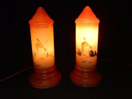 Pair of Antique Milk Glass Tube Lamps ~ Hand Painted, Windmills & Trees,... - $244.95