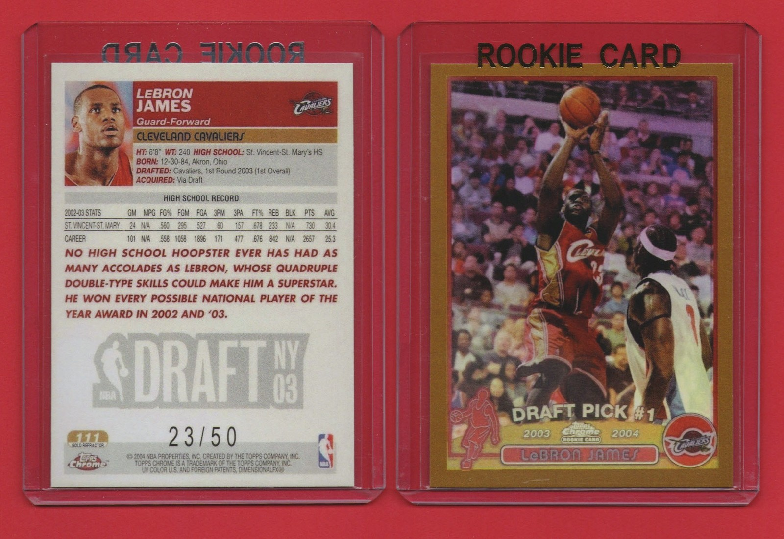 Primary image for 2003-04 Topps Chrome #111 LeBron James GOLD #23/50 ROOKIE REPRINT card
