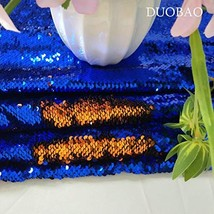 Sequin Fabric Reversible Royal Blue to Orange SequinFabricforSewing M... - $17.11