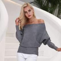 Sexy Bardot Neckline Women Batwing Sleeve Pullover - $35.68