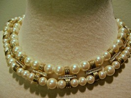 VINTAGE NECKLACE 2 FAUX PEARL STRAND PAVE PEARL PENDANT GOLDEN PAVE SPACERS - $35.00