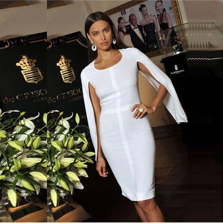 2019 nova ver o vestido bandage mulheres festa de celebridades branco batwing manga o pesco o