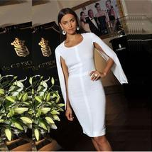Celebrity Party White Batwing Sleeve Bandage Dress image 1
