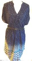 Blue Polka Dot Print Rayon Dress w/Skinny Belt Plus Sizes 2X 3X 4X  - $35.99