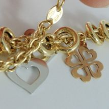 18k YELLOW WHITE ROSE GOLD BRACELET, ROLO, CIRCLE, HEART AND FOUR LEAF PENDANT image 4