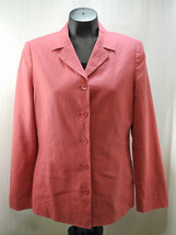 Laura Ashley Coral Pink 100% Linen Lined Blazer Jacket - Women's Size 8 - $28.45