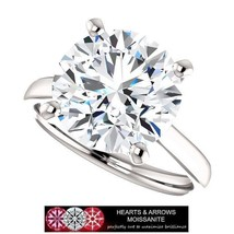 4.35 Carat (DEF) (VVS1) Moissanite Hearts & Arrows Halo Style Ring in 14... - $1,299.00