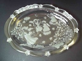 Mikasa oval candy server dish embossed frosted Holiday Lights ANGELS Christmas - $7.95