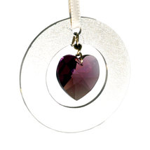 Aluminum Circle and Crystal Heart Ornament image 1