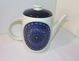 Royal Doulton Babylon Teapot Tea Pot & Lid Blue Purple Flower Scroll Med... - $89.05