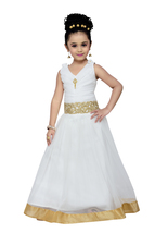 White solid kids party wear gown for girls - $29.95