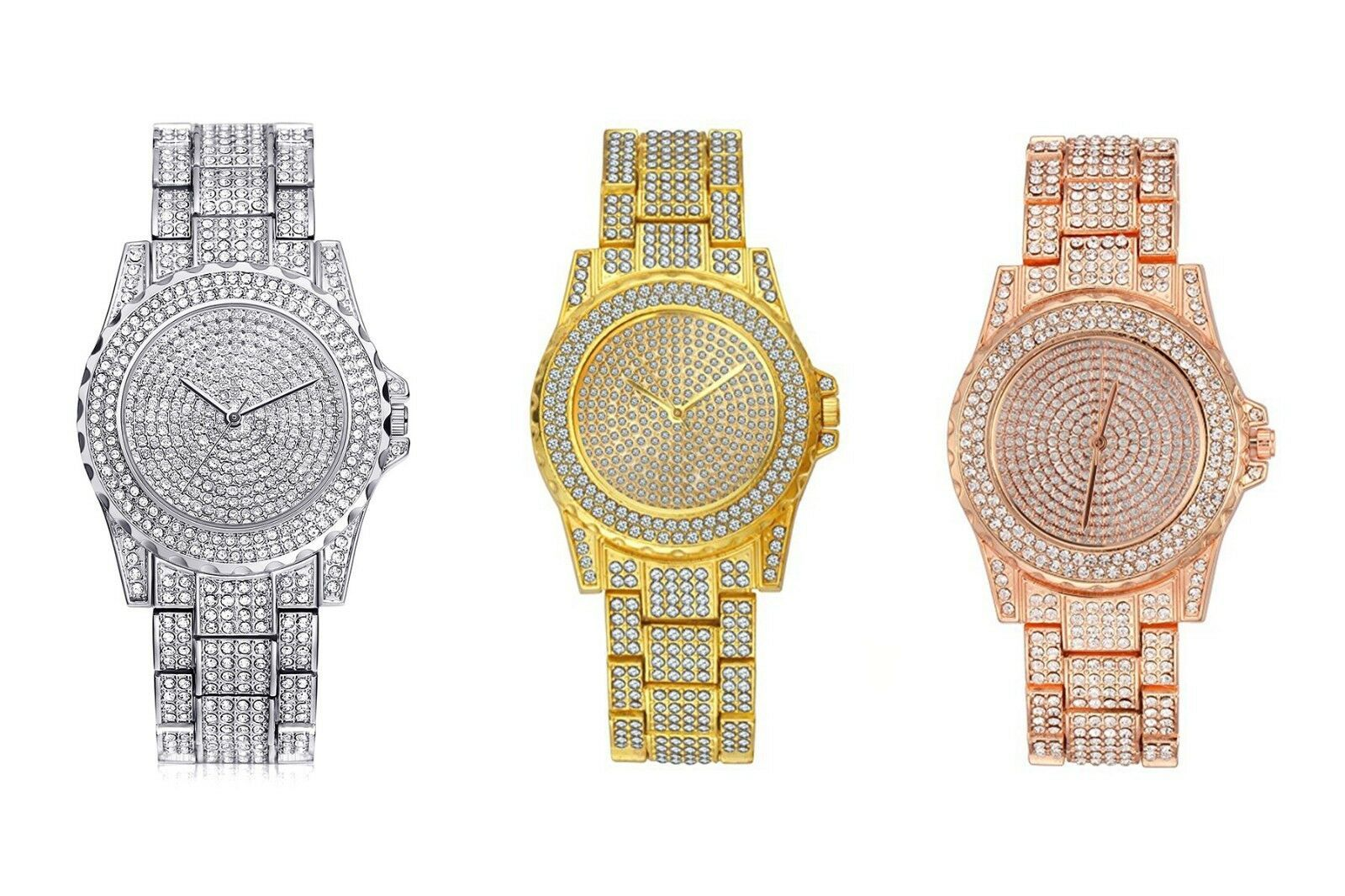 Primary image for AVENTURA Pave Crystal Gold Tone Pave Bling Simulated Crystal Rapper Watch