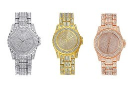 AVENTURA Pave Crystal Gold Tone Pave Bling Simulated Crystal Rapper Watch - €11,62 EUR