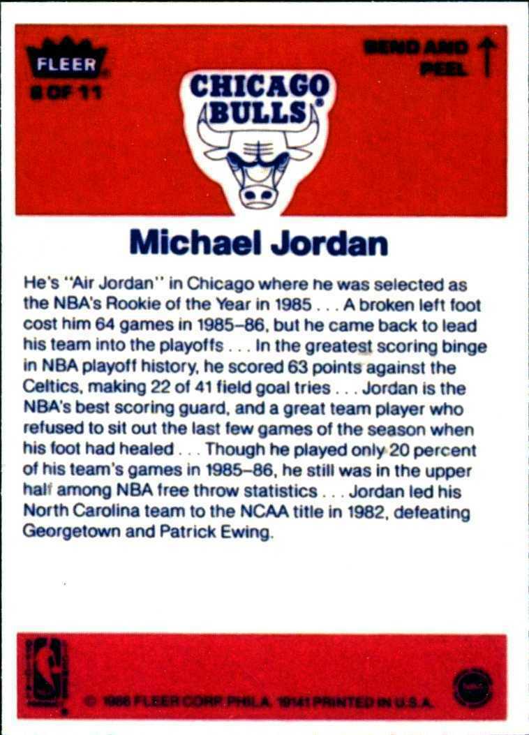 Michael Jordan 1986-1987 Fleer Basketball Reprint Rookie Card & Sticker Lot Mint