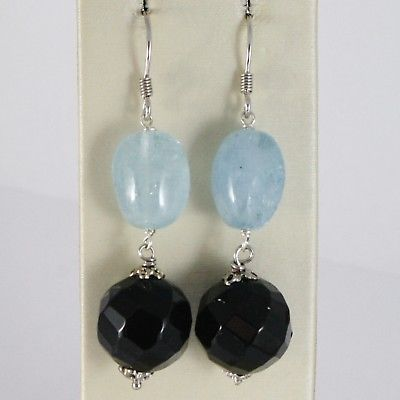 925 STERLING SILVER PENDANT EARRINGS WITH FACETED BLACK ONYX AND OVAL AQUAMARINE