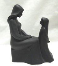 Vintage Royal Doulton Mother and Daughter Figurine in Rare Black image 2