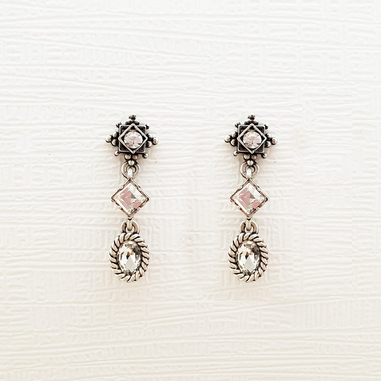 3 Tiered Oval Rhombus Dangle Earrings Made With Swarovski Stone 925 Silver Ear image 3