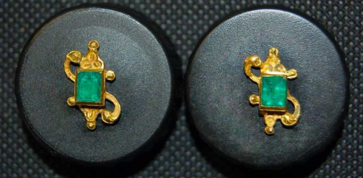 Primary image for ATOCHA EMERALD STUDS 1622 FISHER PIRATE GOLD COINS SHIPWRECK TREASURE EARRINGS