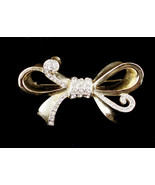 Vintage Signed Weiss Clear Past Rhinestone Gold Tone Bow Pin Brooch - $42.29