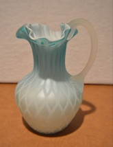 Soft Blue Diamond Quilted Optic Satin Art Glass Handled Ruffled Top Pitcher - $98.99